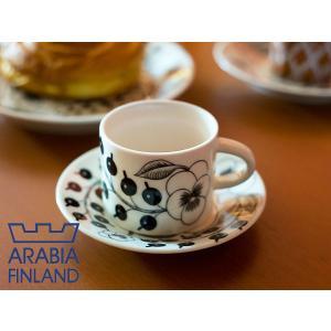 Arabia (アラビア) ブラック パラティッシ コーヒーカップ&ソーサー(6674/6675) 【 arabia paratiisi カップ&ソーサー 陶器 フィンランド 北欧 】|kitchen