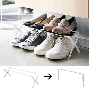 【ポイント10倍】山崎実業 折りたたみシューズラック フレーム ホワイト WH 3603 Yamazaki 靴箱 収納 コンパクト|kitchen