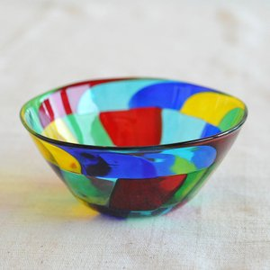 ベネチアンガラス ボウル小 ( 588 ) ブルー・ライトブルー・グリーン・レッド・イエロー|kitchen