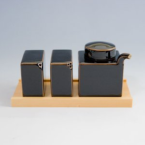 白山陶器 3点コンディメントセット 天目 [ HUKUSAN 和食器 森正洋デザイン醤油さし・塩・こしょう 3点セット ]|kitchen