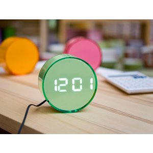 LED丸型アラームクロック(LED102GRWH)<グリーン(ホワイトLED)>|kitchen