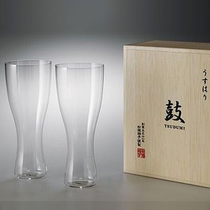松徳硝子 うすはり 鼓 ビールグラス (木箱入り) 2個セット 【 グラス コップ ビールグラス ギフト ピルスナー 】(2941020)|kitchen