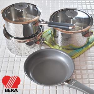 ベカ キッチン6点セット [ ガラス蓋付きEvolutionステンレス鍋16cm・18cm・20cm シリコンハンドル×2本 Vita2フライパン20cm ]|kitchen