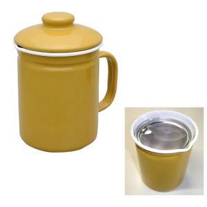 ホシマル印 ホーロー オイルポット キャメル ホームピッカー 1L 大一アルミニウム製作所 油こし|kitchen