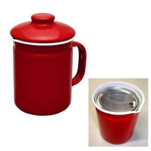 ホシマル印 ホーロー オイルポット レッド ホームピッカー 1L 大一アルミニウム製作所 油こし|kitchen