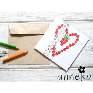 anneko design/アネッコデザイン グリーティングカード 《GIFTCARD》(S104)<赤い実/ハート>|kitchen