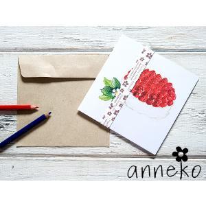 anneko design/アネッコデザイン グリーティングカード 《GIFTCARD》(S107)<ストロベリーケーキ>|kitchen