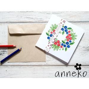 anneko design/アネッコデザイン グリーティングカード 《GIFTCARD》(S1010)<ブルベリー&赤い実/リース>|kitchen