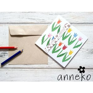 anneko design/アネッコデザイン グリーティングカード 《GIFTCARD》(S1101)<チューリップ/マルチ>|kitchen