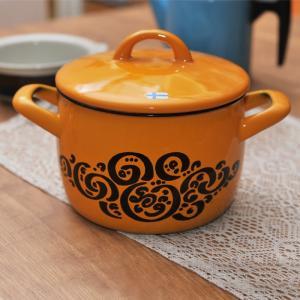 【 アンティーク 】 フィネル ライヤ・ウオシッキネン オリエント ホーロー両手鍋 イエロー 《 ビンテージ vintage ヴィンテージ 》|kitchen