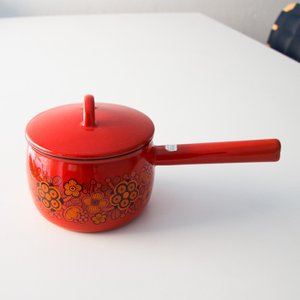 【アンティーク Fine フィネル】フィネル ライヤ・ウオシッキネン プリマヴェーラ ホーロー片手鍋 1.5L 《ビンテージ/vintage》<レッド>|kitchen
