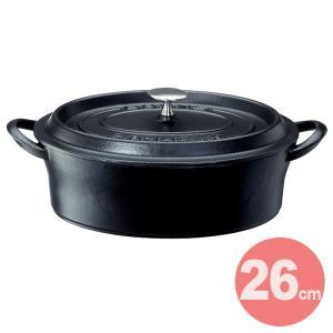 BONNE BONHEUR/ボン・ボネール ココットオーバル 26cm 《IH対応》 【ボンボネール/イシガキ産業/ホーロー/鋳物/両手鍋】<ブラック>|kitchen