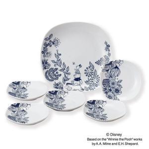 Disney ディズニー フラワープー モノトーン パーティセット(D-WP01) 【 前畑 Pooh  化粧箱入 皿 プレート 】|kitchen