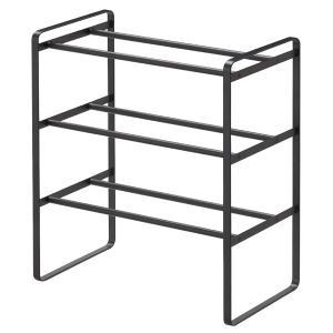 山崎実業 伸縮 シューズラック フレーム 3段 ブラック frame|kitchen