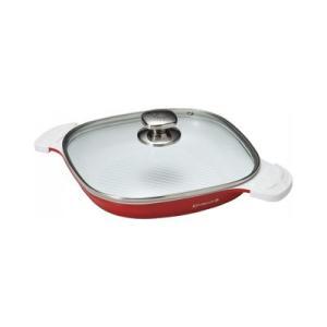 ケヴンハウン スクウェアグリルパン(24cm)蓋付(KDS870)<オレンジレッド> kitchen