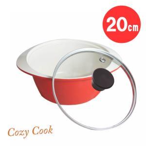 [ 送料無料 シリコンハンドル スポンジプレゼント ] コージークック セラミック 両手鍋 20cm ガラス蓋つき IH・オーブン対応|kitchen