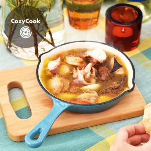 [ スポンジプレゼント ] コージークック 鋳物ホーローウエアシリーズ  ミニスキレット 15cm <ピーコックグリーン>|kitchen