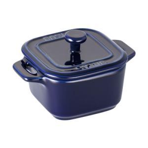 ストウブ セラミック エクストラミニ スクエアココット(2ヶ組) 40511-099 <ブルー>|kitchen