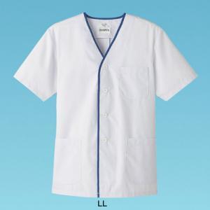 男性用デザイン白衣 半袖 FA-347 LL <ホワイト>|kitchen