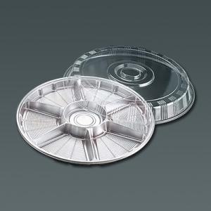 サークルトレー 透明蓋付(20セット入) FP-5 (6仕切) 385×76mm <シルバー>|kitchen