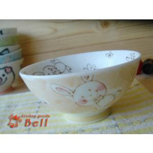 子供茶碗 ご飯がくっつきにくい 粒粒ラビットキッズご飯茶わん 孫平 業務用食器|kitchengoods-bell