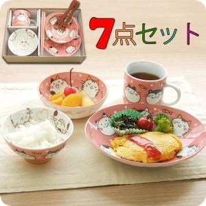 子供食器セット にゃんだふる7点セット 皿 小鉢 茶碗 マグ 箸 スプーン フォーク NYAVPKO|kitchengoods-bell