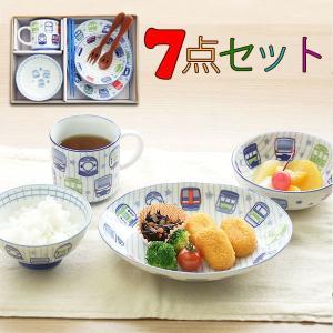 子供食器セット トレインフェイス7点セット 皿 小鉢 茶碗 マグ 箸 スプーン フォーク TFAVPKO|kitchengoods-bell