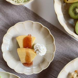 食器 中皿 輪花クリーム釉5.0寸皿 取り皿 中皿 取分け皿 花形 ケーキ皿 和食器 洋食器 美濃焼 日本製|kitchengoods-bell