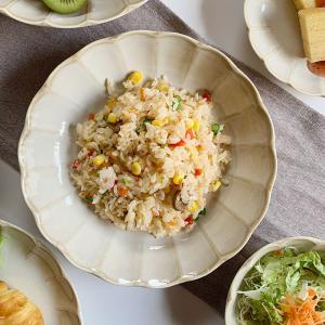 食器 パスタ皿 輪花クリーム釉7.0寸深皿 大皿 カレー皿 ワンプレート 盛り皿 花形 和食器 洋食器 美濃焼 日本製 kitchengoods-bell
