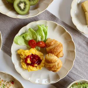 食器 大皿 輪花クリーム釉7.0寸皿 ワンプレート 盛り皿 花形 和食器 洋食器 美濃焼 日本製|kitchengoods-bell