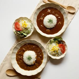 カレー皿 小鉢 食器 輪花クリーム釉カレー皿小鉢2個セット 盛り皿 花形 和食器 洋食器 美濃焼 日本製 kitchengoods-bell