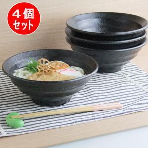 4個組 うず巻き  麺丼 ブラック 20cm うどん丼 ラーメン丼 麺鉢 丸形 黒い食器 和食器 中華食器 日本製|kitchengoods-bell