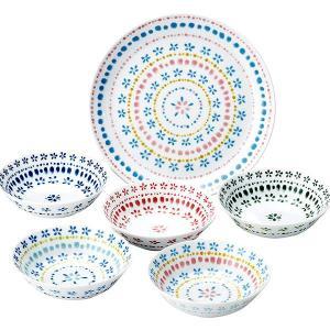 ■商品紹介  可愛らしいお花のパターンを並べた 普段の食卓はもちろん来客時にも便利な プレート1枚と...