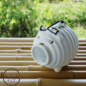 ミニ蚊取り豚 白 ミニサイズ 蚊取り線香入れ/蚊遣り 萬古焼/ばんこ焼|kitchengoods-bell