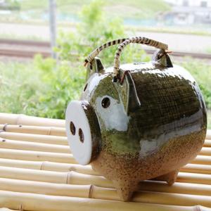 蚊取り豚 伊賀釉 普通サイズ 蚊取り線香入れ/蚊遣り 萬古焼/ばんこ焼|kitchengoods-bell