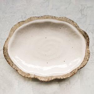 白唐津 雲型皿 22cm おかず皿 和食器 取り皿 楕円 業務用食器|kitchengoods-bell