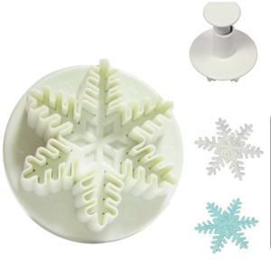 抜き型 雪の結晶 中 プランジャー付 [706] PME社製  シュガークラフト kitchenmaster