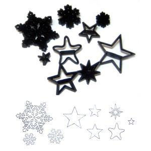 抜き型  雪の結晶と星 9ケセット  [pw87]   シュガークラフト|kitchenmaster