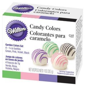 ウィルトン カーデンカラー キャンディセット 7g x 4 グリーン ピンク、紫、黒  [1913-1298] 油性 着色料 チョコレートやバタークリームに wilton