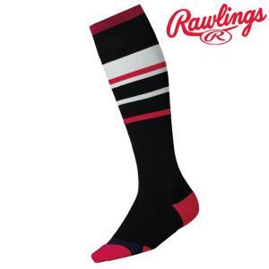 (即日発送)ローリングス ラインロングソックス ブラック/ピンク AAS9S03|kitospo