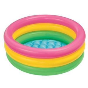 INTEX社製のカラフルな3リングベビープールです。小さなお子様の水遊びに最適です。修理用パッチ付 ...