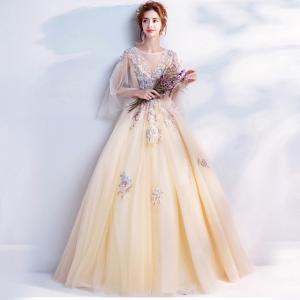 726ef1e9bc3e6 お花嫁ドレス ロングドレス カラードレス イブニングドレス ロング パーティードレス ウェディングドレス 結婚式 二次会ドレス 演奏会 姫系