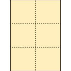 A4 ミシン目用紙 6分割タイプ 色上質(クリーム)【厚み:コピー用紙(35kg)】2000枚|kiuchi-printing