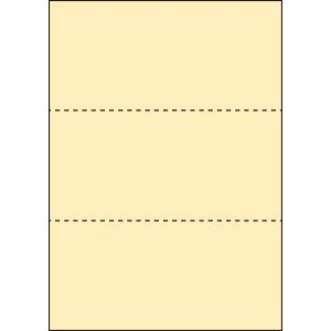 A4 ミシン目用紙 3分割タイプ 色上質(クリーム)【厚み:やや厚め(44.5k)】2000枚|kiuchi-printing