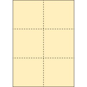 A4 ミシン目用紙 6分割タイプ 色上質(クリーム)【厚み:やや厚め(44.5k)】2000枚|kiuchi-printing