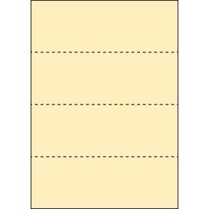 A4 ミシン目用紙 横4分割タイプ 色上質(クリーム)【厚み:コピー用紙(35kg)】2000枚|kiuchi-printing