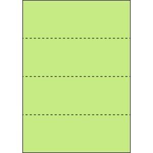 A4 ミシン目用紙 横4分割タイプ 色上質(鶯色)【厚み:コピー用紙(35kg)】2000枚|kiuchi-printing