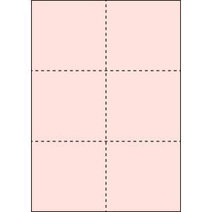 A4 ミシン目用紙 6分割タイプ 色上質(桜色)【厚み:コピー用紙(35kg)】2000枚|kiuchi-printing
