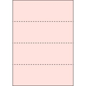 A4 ミシン目用紙 横4分割タイプ 色上質(桜色)【厚み:コピー用紙(35kg)】2000枚|kiuchi-printing