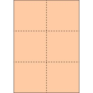 A4 ミシン目用紙 6分割タイプ 色上質(びわ色)【厚み:コピー用紙(35kg)】2000枚|kiuchi-printing